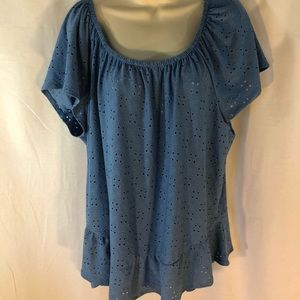 NY Collection Stretch Eyelet Peasant Top Blue 3X